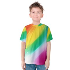 Red Yellow White Pink Green Blue Rainbow Color Mix Kids  Cotton Tee