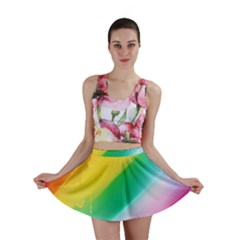 Red Yellow White Pink Green Blue Rainbow Color Mix Mini Skirt