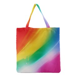 Red Yellow White Pink Green Blue Rainbow Color Mix Grocery Tote Bag
