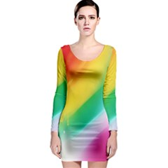 Red Yellow White Pink Green Blue Rainbow Color Mix Long Sleeve Bodycon Dress