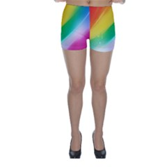 Red Yellow White Pink Green Blue Rainbow Color Mix Skinny Shorts