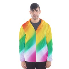 Red Yellow White Pink Green Blue Rainbow Color Mix Hooded Wind Breaker (men)