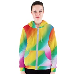 Red Yellow White Pink Green Blue Rainbow Color Mix Women s Zipper Hoodie