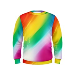 Red Yellow White Pink Green Blue Rainbow Color Mix Kids  Sweatshirt