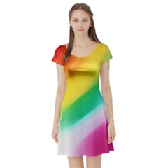 Red Yellow White Pink Green Blue Rainbow Color Mix Short Sleeve Skater Dress
