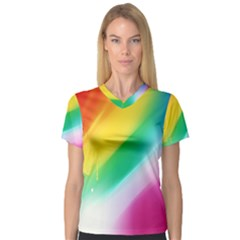 Red Yellow White Pink Green Blue Rainbow Color Mix V Neck Sport Mesh Tee