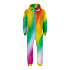 Red Yellow White Pink Green Blue Rainbow Color Mix Hooded Jumpsuit (kids)