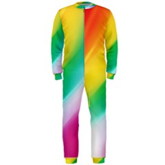 Red Yellow White Pink Green Blue Rainbow Color Mix Onepiece Jumpsuit (men)