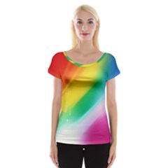 Red Yellow White Pink Green Blue Rainbow Color Mix Cap Sleeve Tops