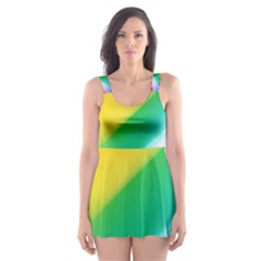 Red Yellow White Pink Green Blue Rainbow Color Mix Skater Dress Swimsuit
