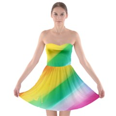 Red Yellow White Pink Green Blue Rainbow Color Mix Strapless Bra Top Dress