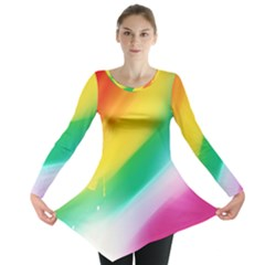 Red Yellow White Pink Green Blue Rainbow Color Mix Long Sleeve Tunic