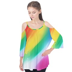 Red Yellow White Pink Green Blue Rainbow Color Mix Flutter Tees