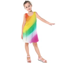 Red Yellow White Pink Green Blue Rainbow Color Mix Kids  Sleeveless Dress
