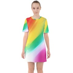 Red Yellow White Pink Green Blue Rainbow Color Mix Sixties Short Sleeve Mini Dress