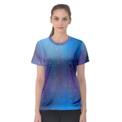 Rain Star Planet Galaxy Blue Sky Purple Blue Women s Sport Mesh Tee