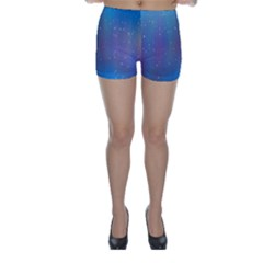 Rain Star Planet Galaxy Blue Sky Purple Blue Skinny Shorts