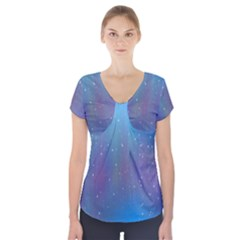 Rain Star Planet Galaxy Blue Sky Purple Blue Short Sleeve Front Detail Top