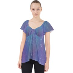 Rain Star Planet Galaxy Blue Sky Purple Blue Lace Front Dolly Top