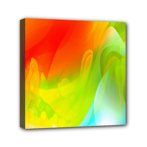 Red Yellow Green Blue Rainbow Color Mix Mini Canvas 6  X 6