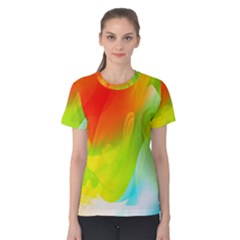 Red Yellow Green Blue Rainbow Color Mix Women s Cotton Tee