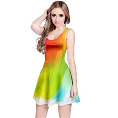 Red Yellow Green Blue Rainbow Color Mix Reversible Sleeveless Dress