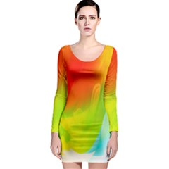 Red Yellow Green Blue Rainbow Color Mix Long Sleeve Bodycon Dress