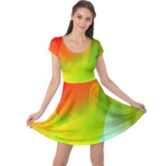 Red Yellow Green Blue Rainbow Color Mix Cap Sleeve Dress
