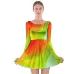 Red Yellow Green Blue Rainbow Color Mix Long Sleeve Skater Dress