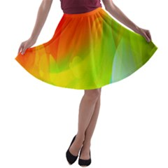 Red Yellow Green Blue Rainbow Color Mix A Line Skater Skirt