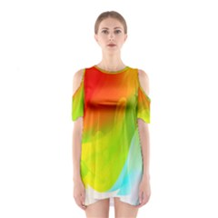 Red Yellow Green Blue Rainbow Color Mix Shoulder Cutout One Piece