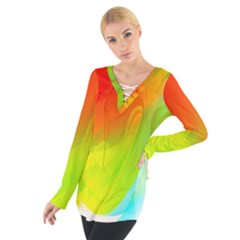 Red Yellow Green Blue Rainbow Color Mix Tie Up Tee