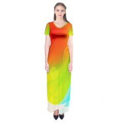 Red Yellow Green Blue Rainbow Color Mix Short Sleeve Maxi Dress