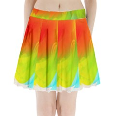Red Yellow Green Blue Rainbow Color Mix Pleated Mini Skirt