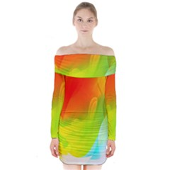 Red Yellow Green Blue Rainbow Color Mix Long Sleeve Off Shoulder Dress