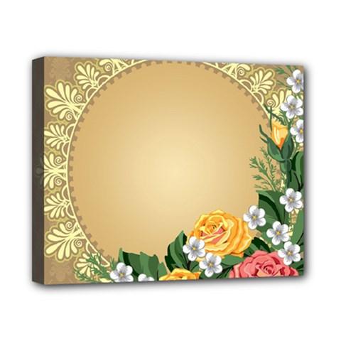 Rose Sunflower Star Floral Flower Frame Green Leaf Canvas 10  X 8