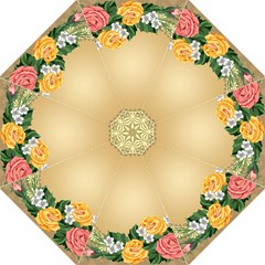 Rose Sunflower Star Floral Flower Frame Green Leaf Straight Umbrellas