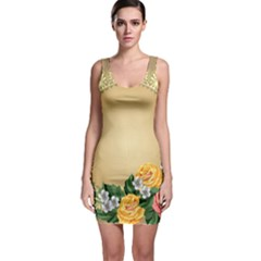 Rose Sunflower Star Floral Flower Frame Green Leaf Bodycon Dress