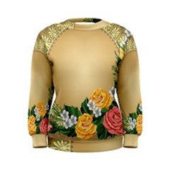 Rose Sunflower Star Floral Flower Frame Green Leaf Women s Sweatshirt