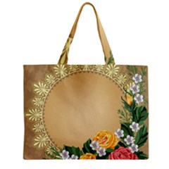 Rose Sunflower Star Floral Flower Frame Green Leaf Zipper Mini Tote Bag