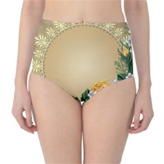 Rose Sunflower Star Floral Flower Frame Green Leaf High Waist Bikini Bottoms