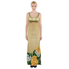 Rose Sunflower Star Floral Flower Frame Green Leaf Maxi Thigh Split Dress