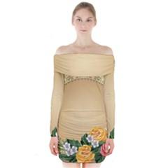 Rose Sunflower Star Floral Flower Frame Green Leaf Long Sleeve Off Shoulder Dress