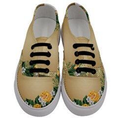 Rose Sunflower Star Floral Flower Frame Green Leaf Men s Classic Low Top Sneakers