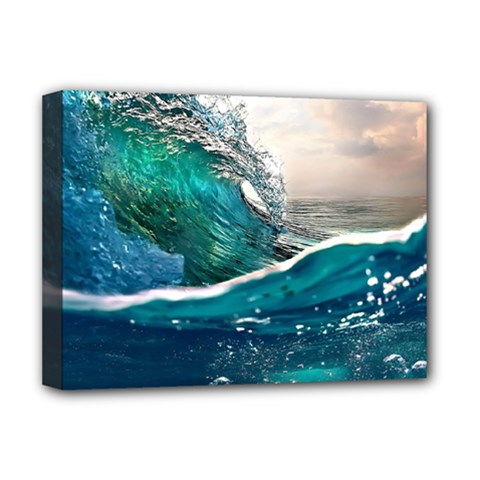 Sea Wave Waves Beach Water Blue Sky Deluxe Canvas 16  X 12
