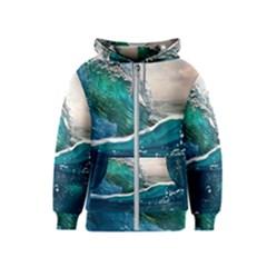 Sea Wave Waves Beach Water Blue Sky Kids  Zipper Hoodie