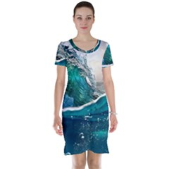 Sea Wave Waves Beach Water Blue Sky Short Sleeve Nightdress