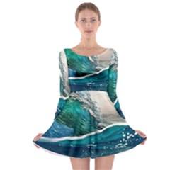 Sea Wave Waves Beach Water Blue Sky Long Sleeve Skater Dress