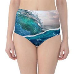 Sea Wave Waves Beach Water Blue Sky High Waist Bikini Bottoms
