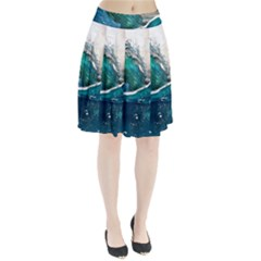 Sea Wave Waves Beach Water Blue Sky Pleated Skirt